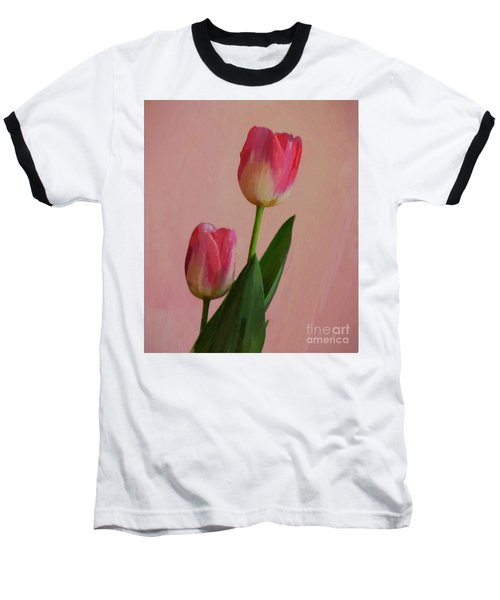 Two Tulips For You Baseball T-Shirt by John Kolenberg