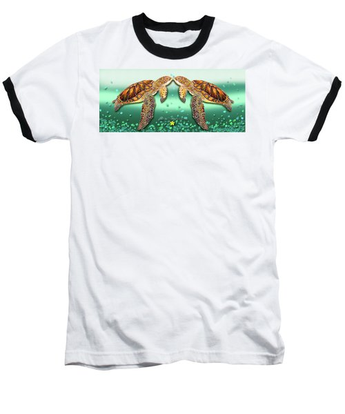 Baseball T-Shirt featuring the painting Two Turtles by Debbie Chamberlin