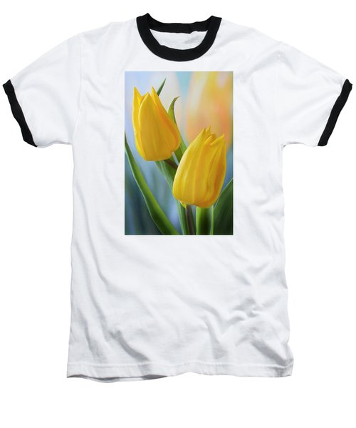 Two Yellow Spring Tulips Baseball T-Shirt by Terence Davis