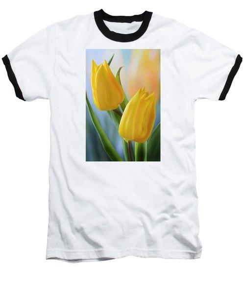 Two Yellow Spring Tulips Baseball T-Shirt