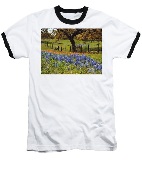Baseball T-Shirt featuring the painting Tx Tradition, Bluebonnets by Lisa Spencer