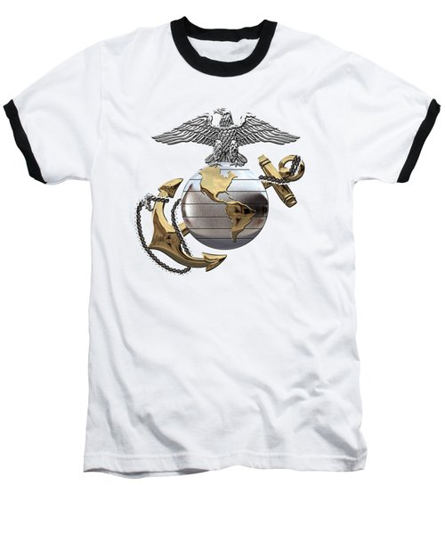 U S M C Eagle Globe And Anchor - C O And Warrant Officer E G A Over White Leather Baseball T-Shirt