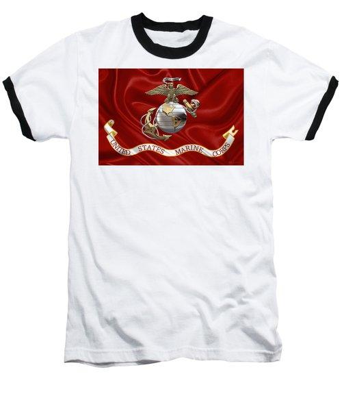U. S.  Marine Corps - U S M C Eagle Globe And Anchor Over Corps Flag Baseball T-Shirt