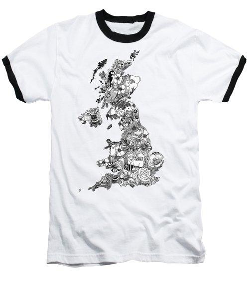 Uk Map Baseball T-Shirt by Hannah Edge