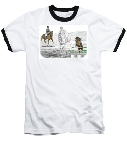 Ultimate Challenge - Horse Eventing Print Color Tinted Baseball T-Shirt by Kelli Swan