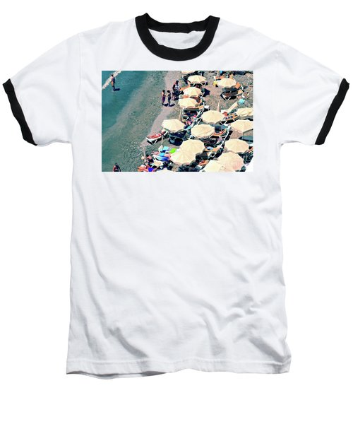 Baseball T-Shirt featuring the photograph Umbrellas On The Beach - Nerja by Mary Machare