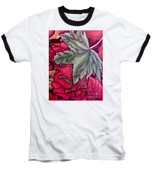 Baseball T-Shirt featuring the painting Understudy Of A Fallen Green Maple Leaf In The Fall by Kimberlee Baxter
