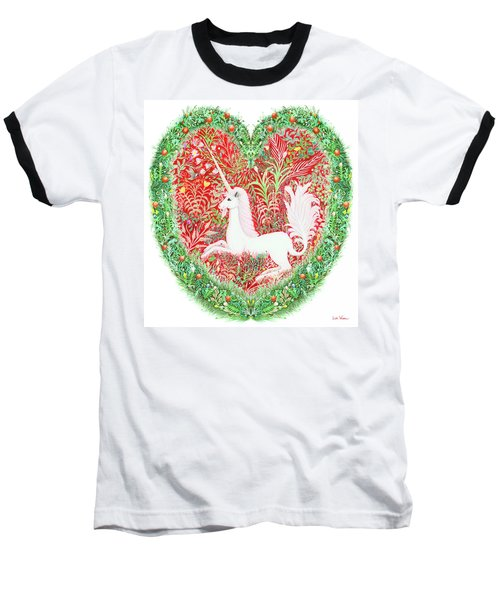 Unicorn Heart With Millefleurs Baseball T-Shirt