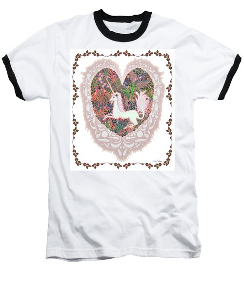 Unicorn In A Pink Heart Baseball T-Shirt