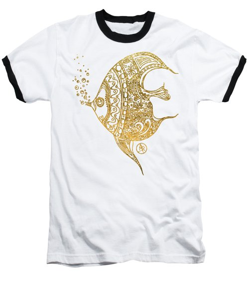 Unique Golden Tropical Fish Art Drawing By Megan Duncanson Baseball T-Shirt