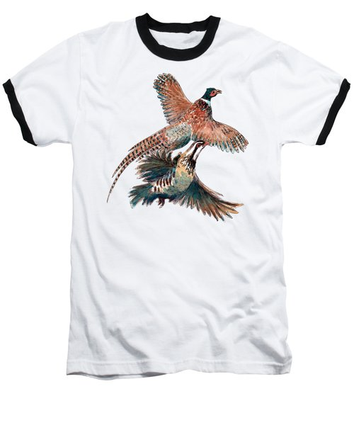 Up And Away Partridge And Pheasant Baseball T-Shirt by Richard Skilton
