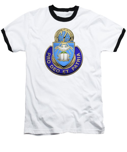 Baseball T-Shirt featuring the digital art U.s. Army Chaplain Corps - Regimental Insignia Over White Leather by Serge Averbukh