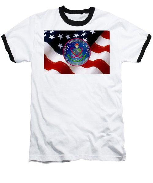 U. S. Defense Intelligence Agency - D I A Emblem Over Flag Baseball T-Shirt