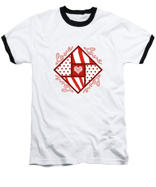 Baseball T-Shirt featuring the digital art Valentine 4 Square Quilt Block by Methune Hively