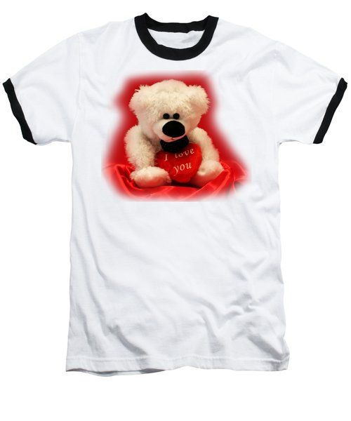 Valentine Bear Baseball T-Shirt by Linda Phelps