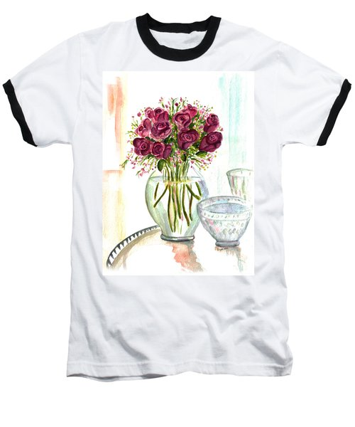 Valentines Crystal Rose Baseball T-Shirt by Clara Sue Beym
