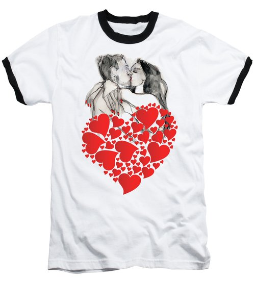 Baseball T-Shirt featuring the painting Valentine's Kiss - Valentine's Day by Carolyn Weltman