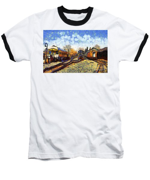 Van Gogh.s Train Station 7d11513 Baseball T-Shirt