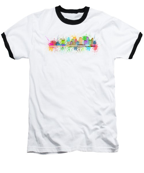 Vancouver Bc Skyline Paint Splatter Illustration Baseball T-Shirt