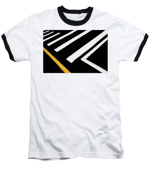 Baseball T-Shirt featuring the photograph Vanishing Traffic Lines With Colorful Edge by Gary Slawsky