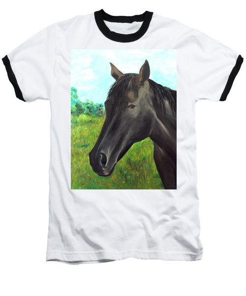 Baseball T-Shirt featuring the painting Velvet by Elizabeth Lock