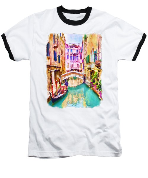 Venice Canal 2 Baseball T-Shirt by Marian Voicu