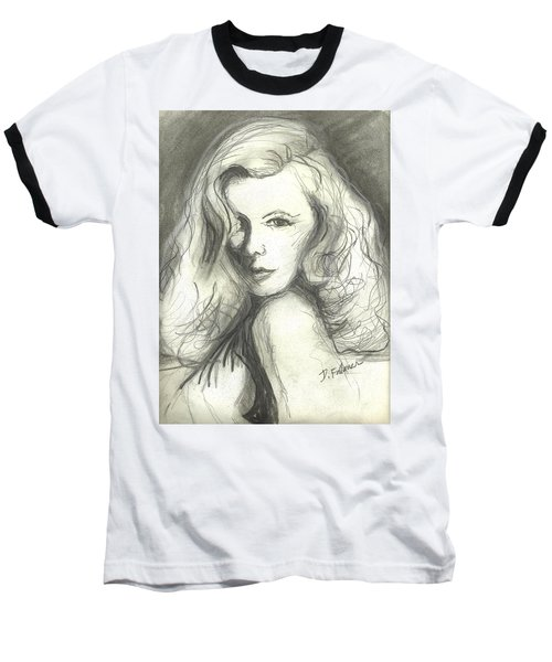 Veronica Lake Baseball T-Shirt by Denise Fulmer