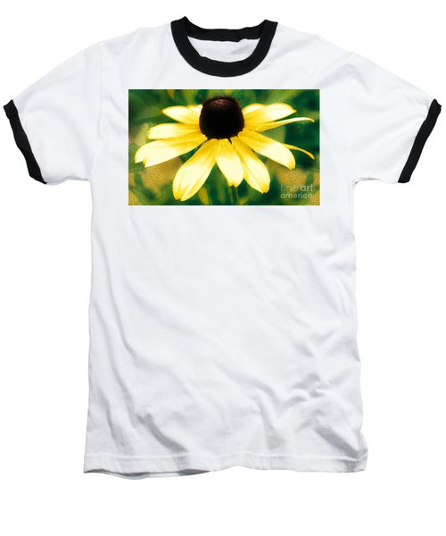 Vibrant Yellow Coneflower Baseball T-Shirt by Judy Palkimas