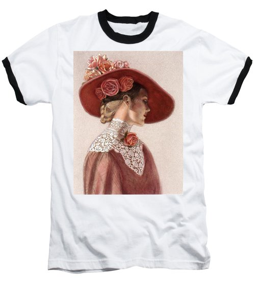 Victorian Lady In A Rose Hat Baseball T-Shirt