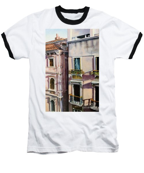 Baseball T-Shirt featuring the painting View From A Venetian Window by Marlene Book