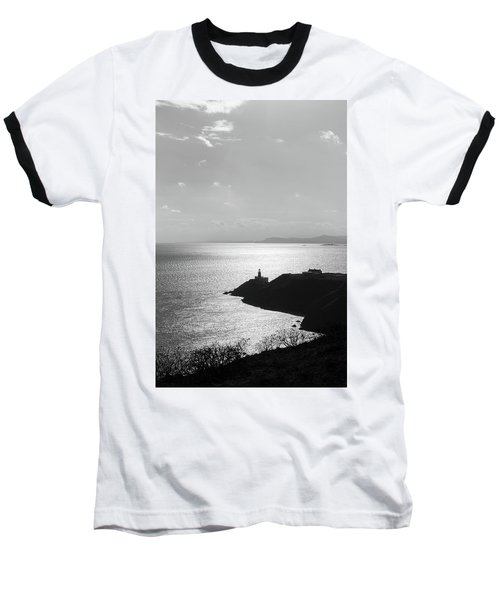 View Of Howth Head With The Baily Lighthouse In Black And White Baseball T-Shirt by Semmick Photo