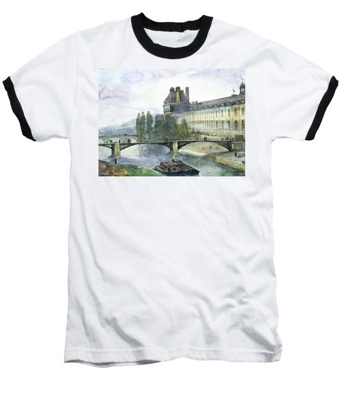 View Of The Pavillon De Flore Of The Louvre Baseball T-Shirt by Francois-Marius Granet