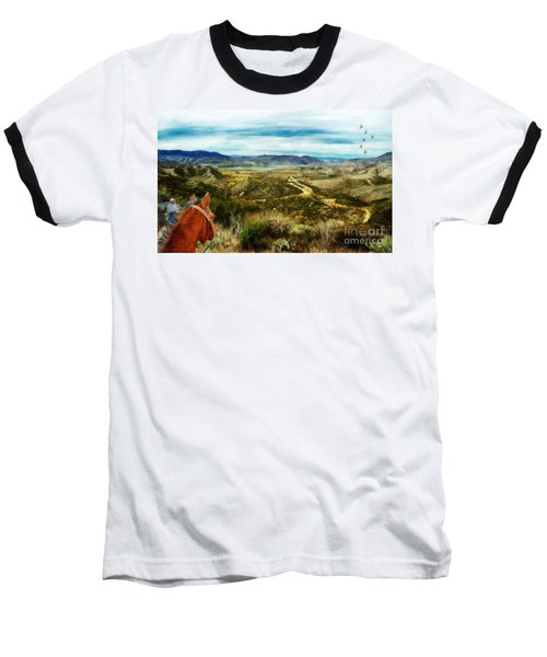 View Of Vail Lake On Horseback Baseball T-Shirt