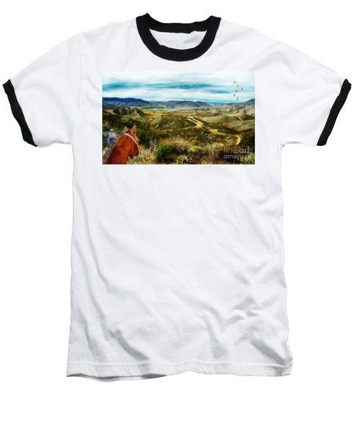 View Of Vail Lake On Horseback Baseball T-Shirt