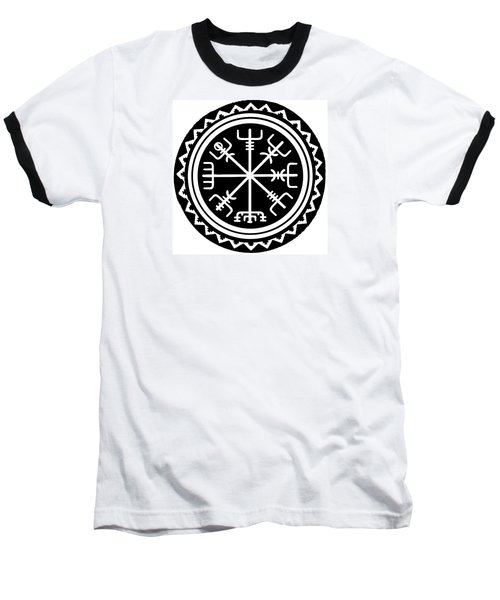 Baseball T-Shirt featuring the digital art Viking Vegvisir Compass by Vagabond Folk Art - Virginia Vivier