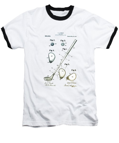 Vintage 1910 Golf Club Patent Baseball T-Shirt by Bill Cannon