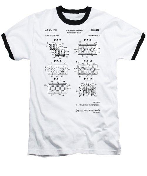 Vintage 1961 Lego Brick Patent Art Baseball T-Shirt