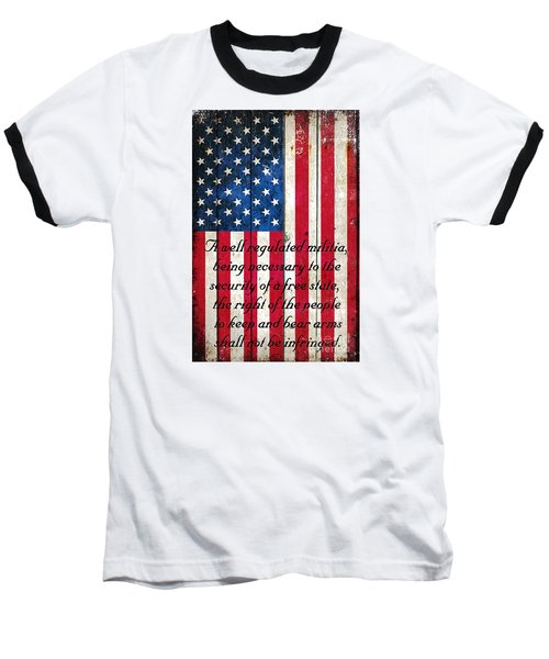 Vintage American Flag And 2nd Amendment On Old Wood Planks Baseball T-Shirt by M L C