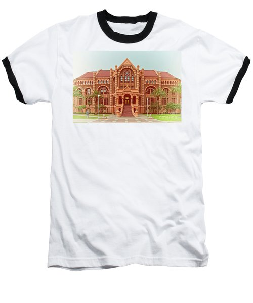 Vintage Architectural Photograph Of Ashbel Smith Old Red Building At Utmb - Downtown Galveston Texas Baseball T-Shirt
