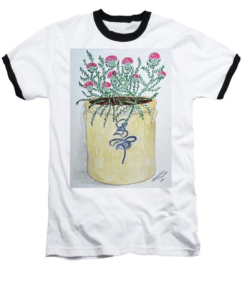 Baseball T-Shirt featuring the painting Vintage Bee Sting Crock And Thistles by Kathy Marrs Chandler