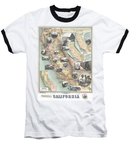 Vintage California Map Baseball T-Shirt
