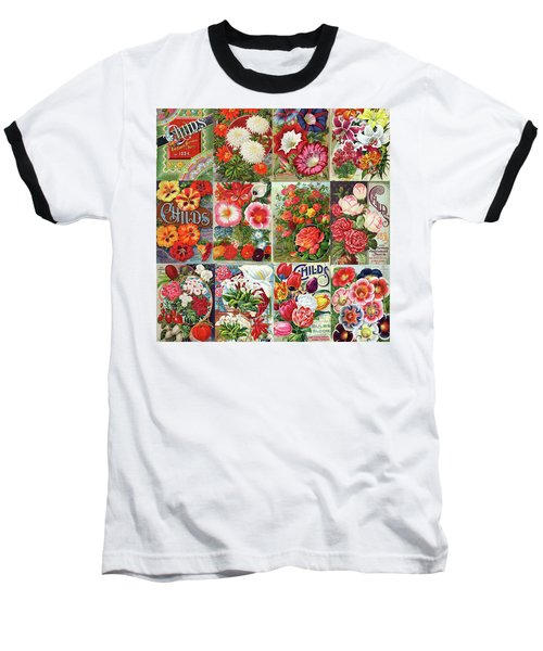 Vintage Childs Nursery Flower Seed Packets Mosaic  Baseball T-Shirt by Peggy Collins