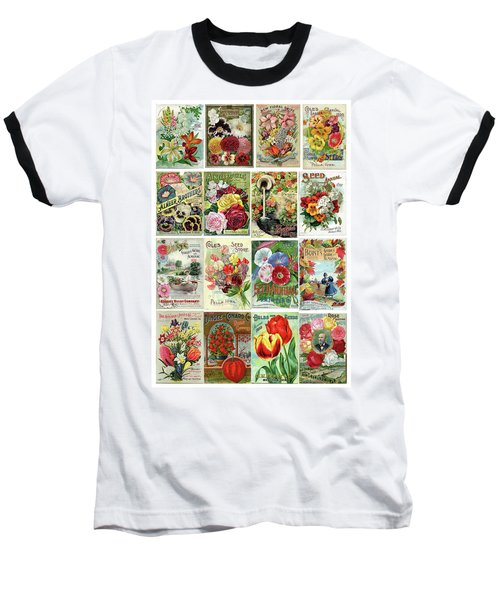 Vintage Flower Seed Packets 1 Baseball T-Shirt