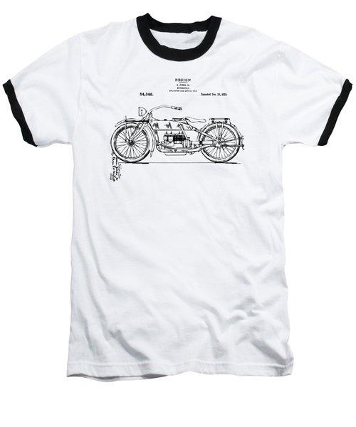 Baseball T-Shirt featuring the digital art Vintage Harley-davidson Motorcycle 1919 Patent Artwork by Nikki Smith