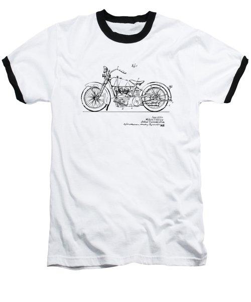 Vintage Harley-davidson Motorcycle 1928 Patent Artwork Baseball T-Shirt by Nikki Smith