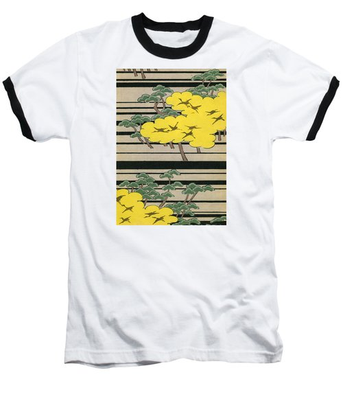 Vintage Japanese Illustration Of An Abstract Forest Landscape With Flying Cranes Baseball T-Shirt