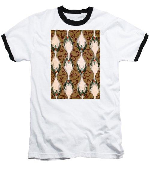 Vintage Japanese Illustration Of Cranes Flying Baseball T-Shirt
