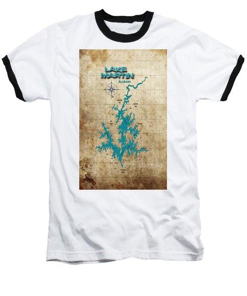 Vintage Map - Lake Martin Al Baseball T-Shirt by Greg Sharpe