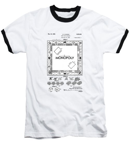 Baseball T-Shirt featuring the photograph Vintage Monopoly Patent 1935 by Bill Cannon