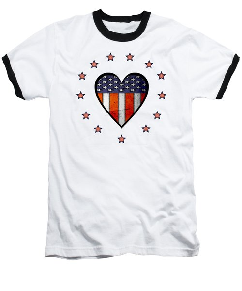 Vintage Patriotic Heart Baseball T-Shirt